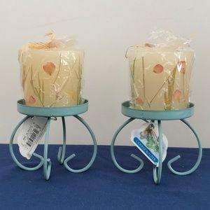 "3"" Spring Pillar Candles Turquoise Metal Holders"